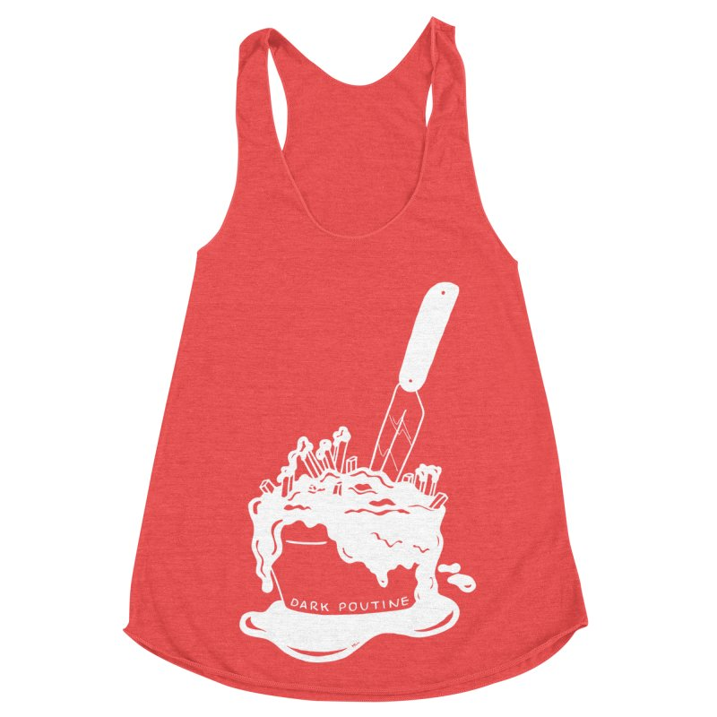 Madison's Dark Poutine - WHITE Women's Racerback Triblend Tank by Dark Poutine Podcast Swag