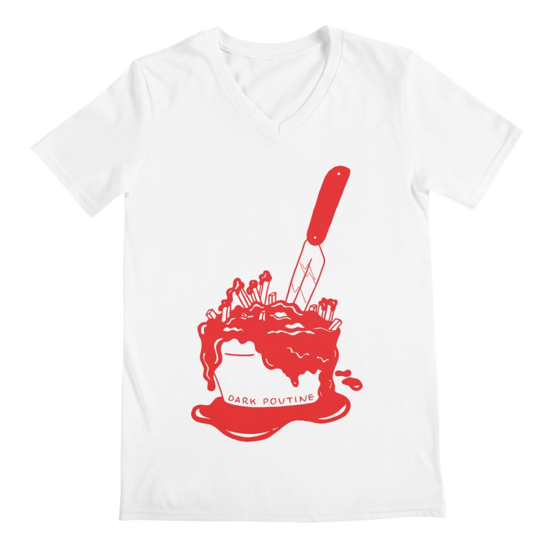 Madison's Dark Poutine - RED Men's Regular V-Neck by Dark Poutine Podcast Swag