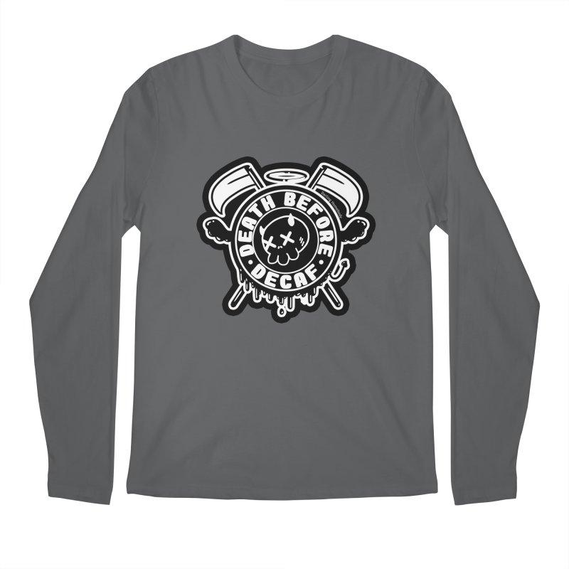 Death Before Decaf Black Men's Longsleeve T-Shirt by Darling Homebody