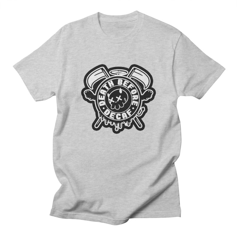 Death Before Decaf Black Men's T-Shirt by Darling Homebody