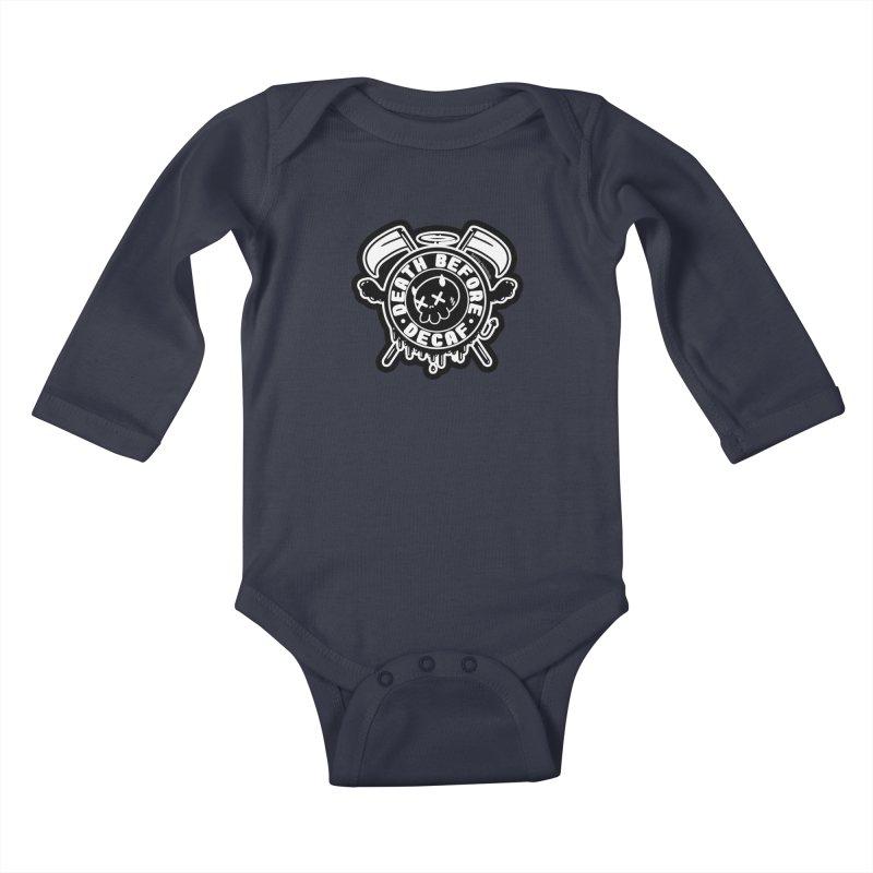 Death Before Decaf Black Kids Baby Longsleeve Bodysuit by Darling Homebody