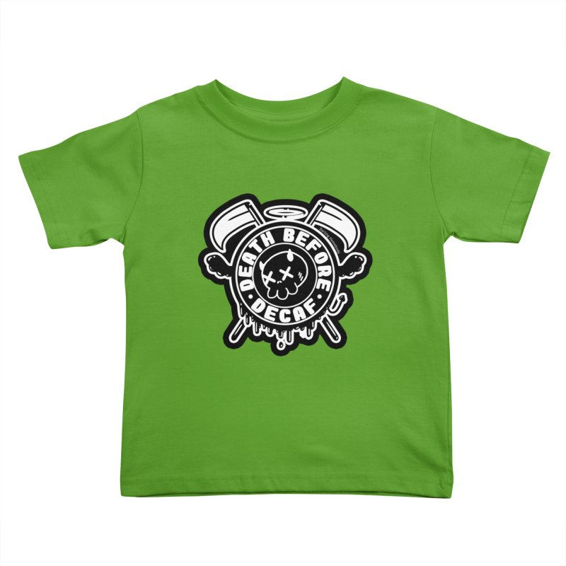 Death Before Decaf Black Kids Toddler T-Shirt by Darling Homebody