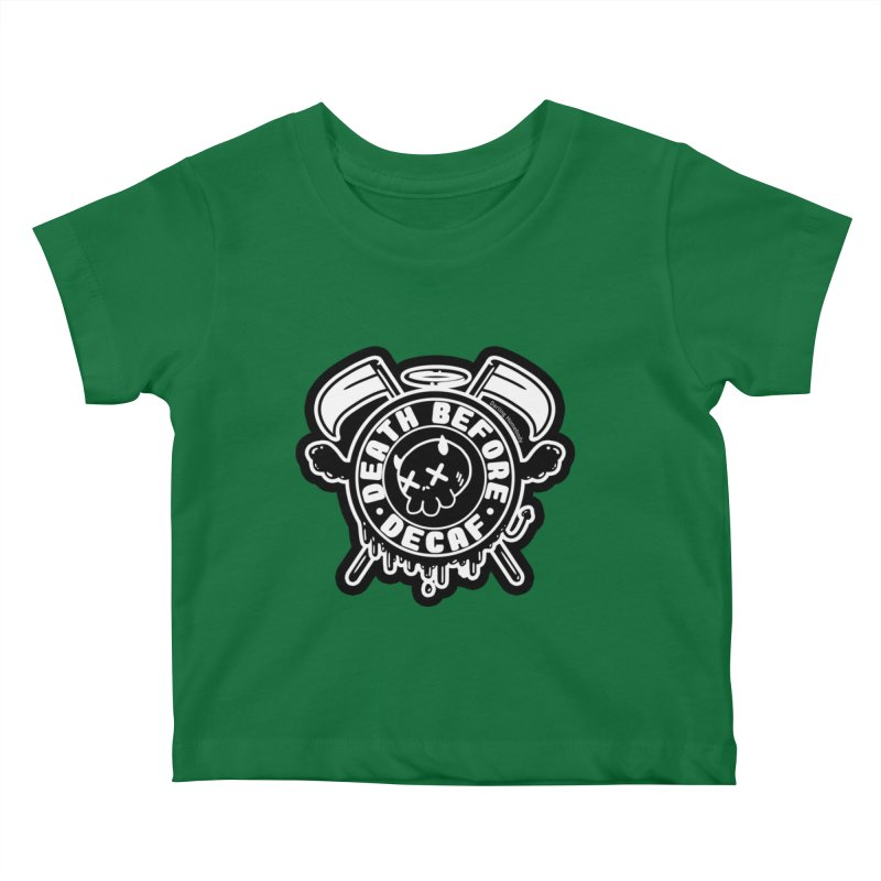 Death Before Decaf Black Kids Baby T-Shirt by Darling Homebody