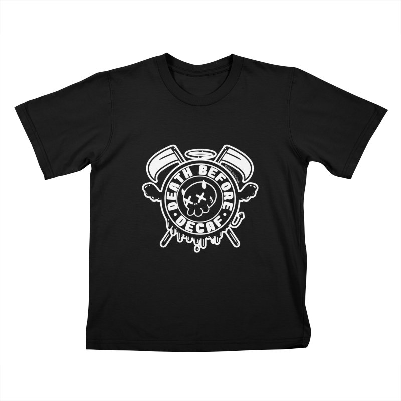 Death Before Decaf Black Kids T-Shirt by Darling Homebody
