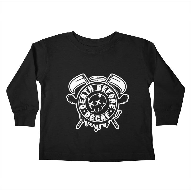 Death Before Decaf Black Kids Toddler Longsleeve T-Shirt by Darling Homebody