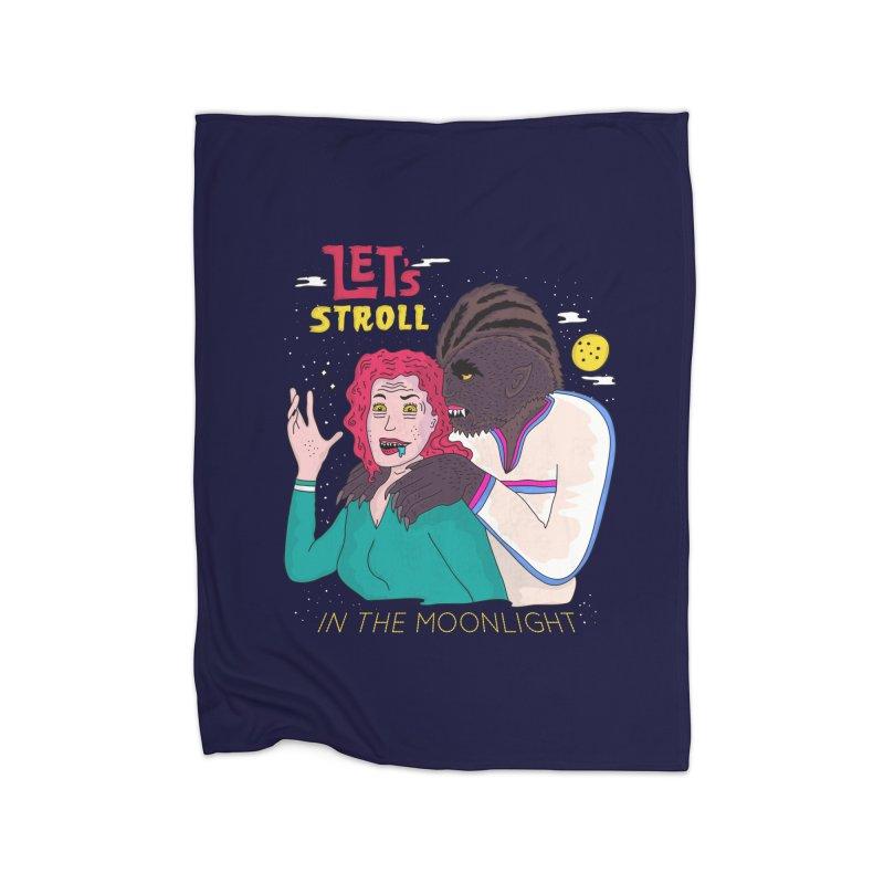 Let's Stroll in the Moonlight Home Fleece Blanket Blanket by darruda's Artist Shop