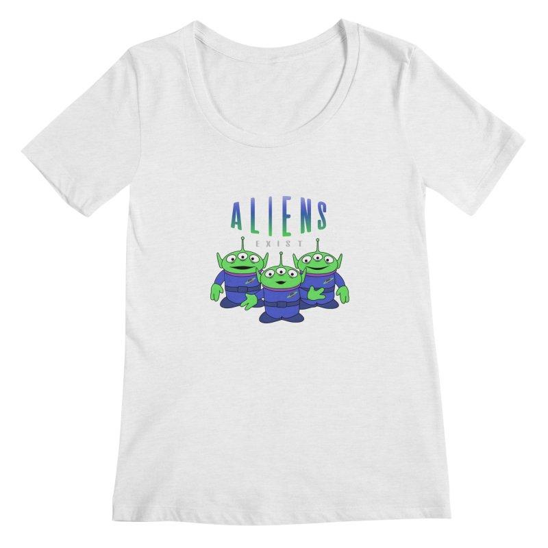 Aliens Exist Women's Regular Scoop Neck by darruda's Artist Shop