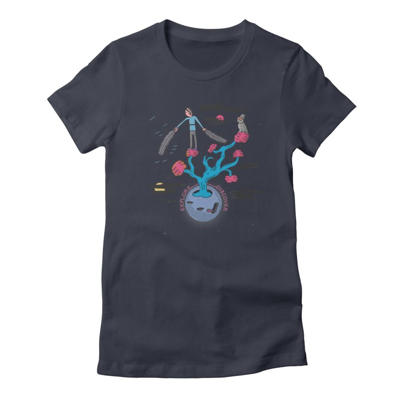 Explore, Discover Women's Fitted T-Shirt by darruda's Artist Shop