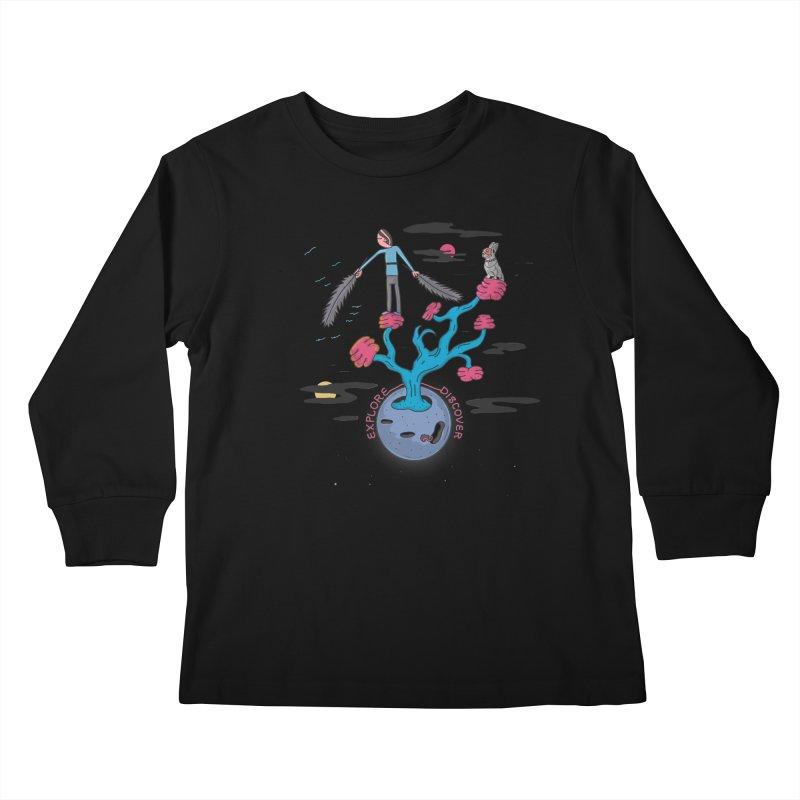 Explore, Discover Kids Longsleeve T-Shirt by darruda's Artist Shop
