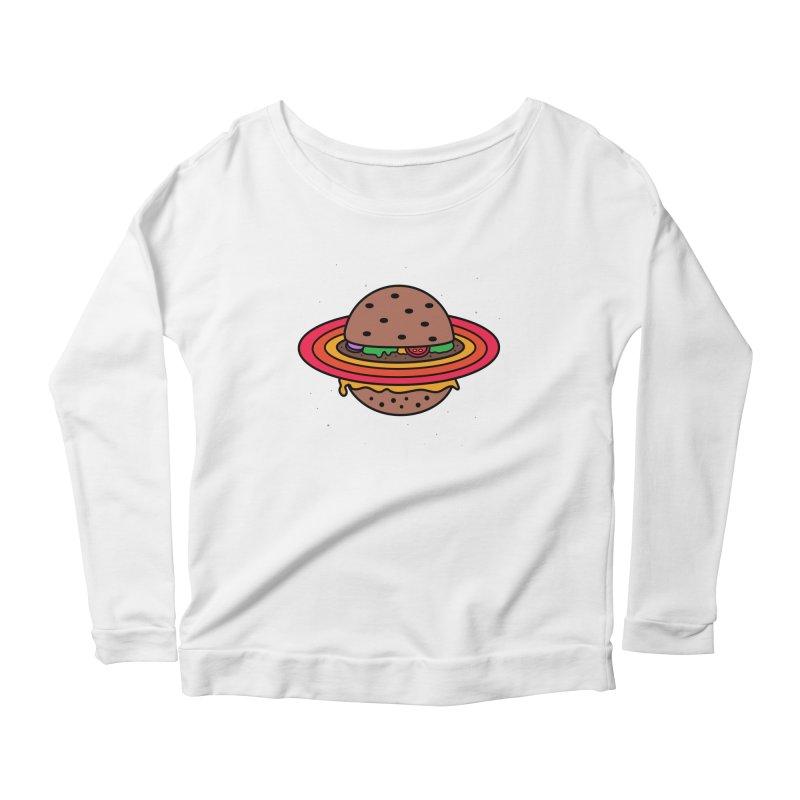 Planet Burger Women's Longsleeve Scoopneck  by darruda's Artist Shop