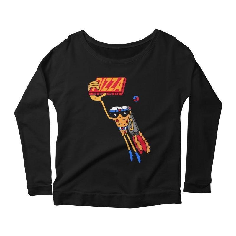 Pizza Hero Women's Scoop Neck Longsleeve T-Shirt by darruda's Artist Shop