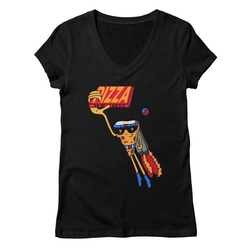 Pizza Hero Women's Regular V-Neck by darruda's Artist Shop