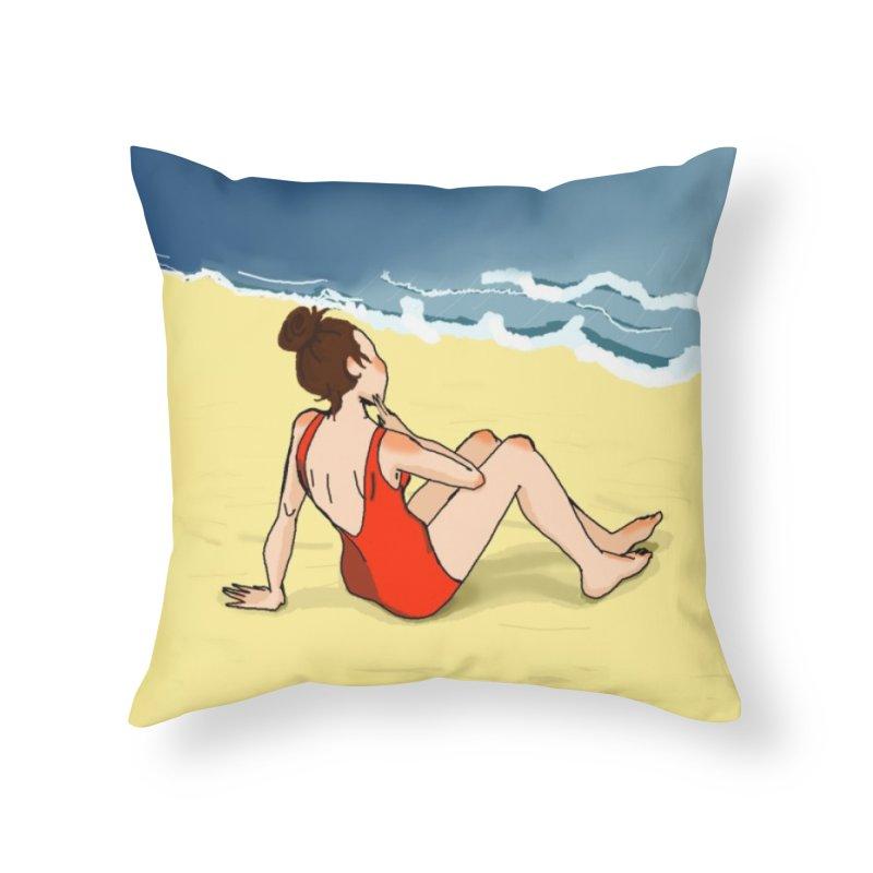 Beach Nostalgia Home Throw Pillow by dasiavou's Artist Shop
