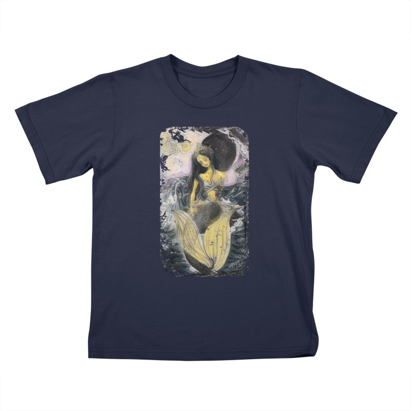 Mermaid Moon Kids T-Shirt by dasiavou's Artist Shop