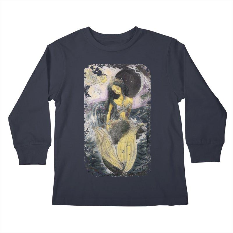 Mermaid Moon Kids Longsleeve T-Shirt by dasiavou's Artist Shop
