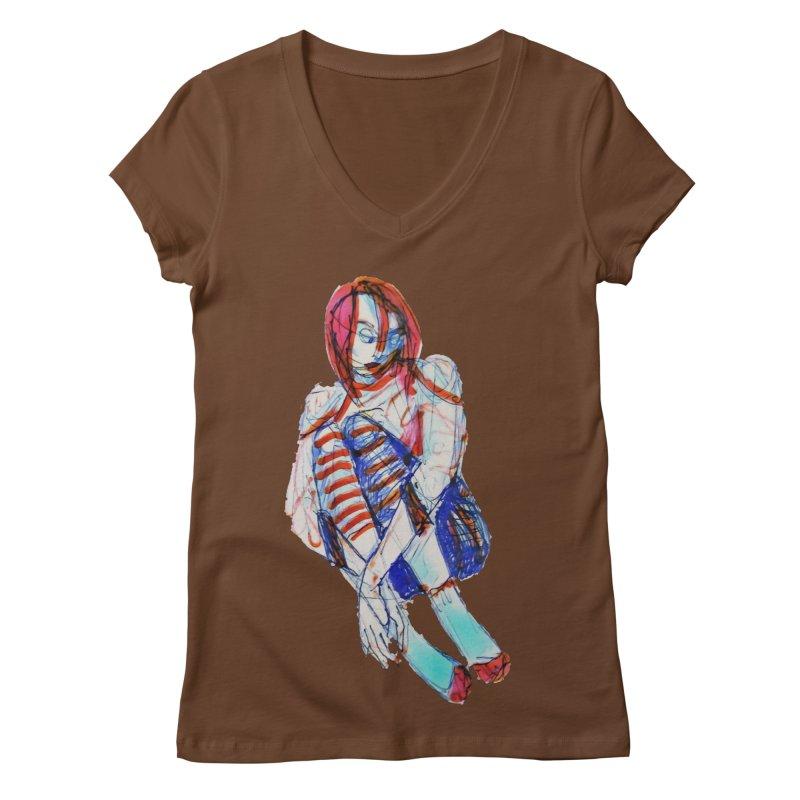 Bare Bones Women's V-Neck by dasiavou's Artist Shop