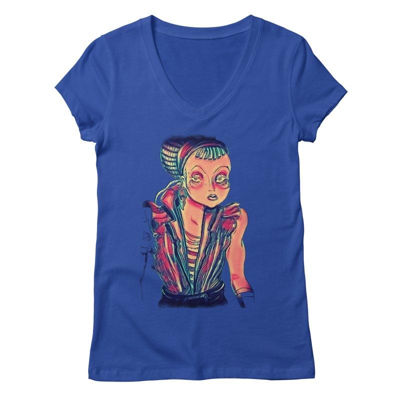 Bandit Queen Women's V-Neck by dasiavou's Artist Shop