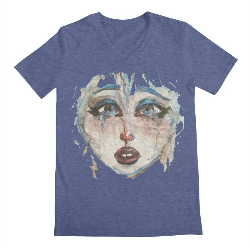 Bleu Men's V-Neck by dasiavou's Artist Shop