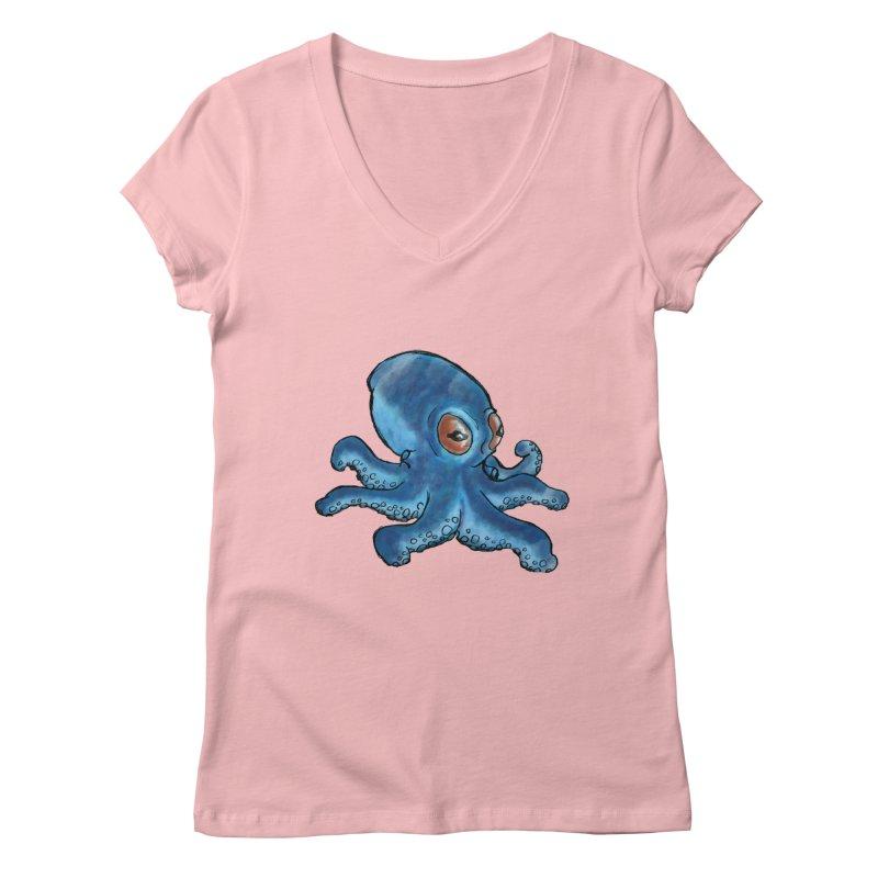 Cephalopodette Women's V-Neck by Illustrator Dave's Artist Shop