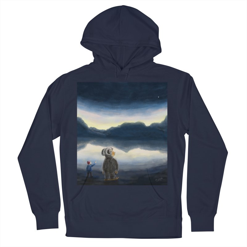 Lakeside stargazing. Women's Pullover Hoody by Illustrator Dave's Artist Shop
