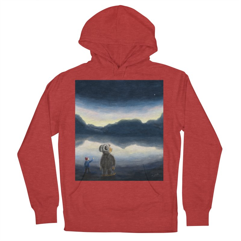 Lakeside stargazing. Men's French Terry Pullover Hoody by Illustrator Dave's Artist Shop