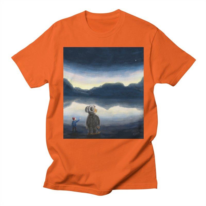 Lakeside stargazing. Men's T-Shirt by Illustrator Dave's Artist Shop