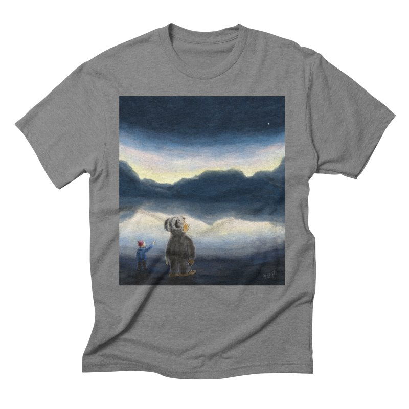 Lakeside stargazing. Men's Triblend T-shirt by Illustrator Dave's Artist Shop