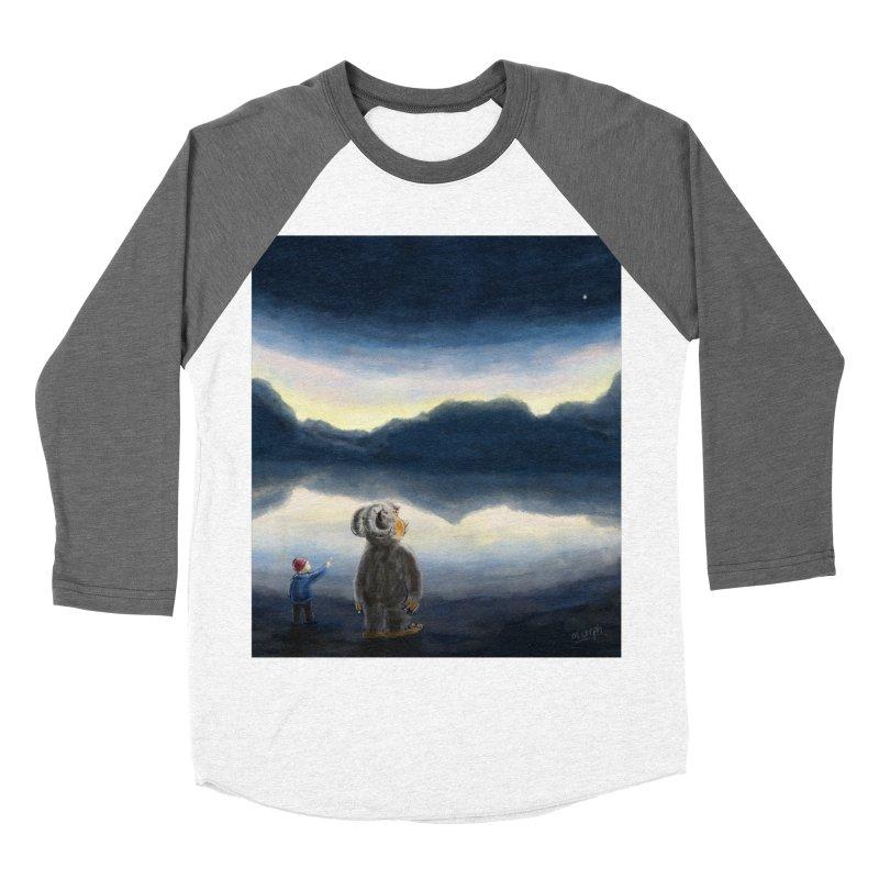 Lakeside stargazing. Women's Baseball Triblend Longsleeve T-Shirt by Illustrator Dave's Artist Shop