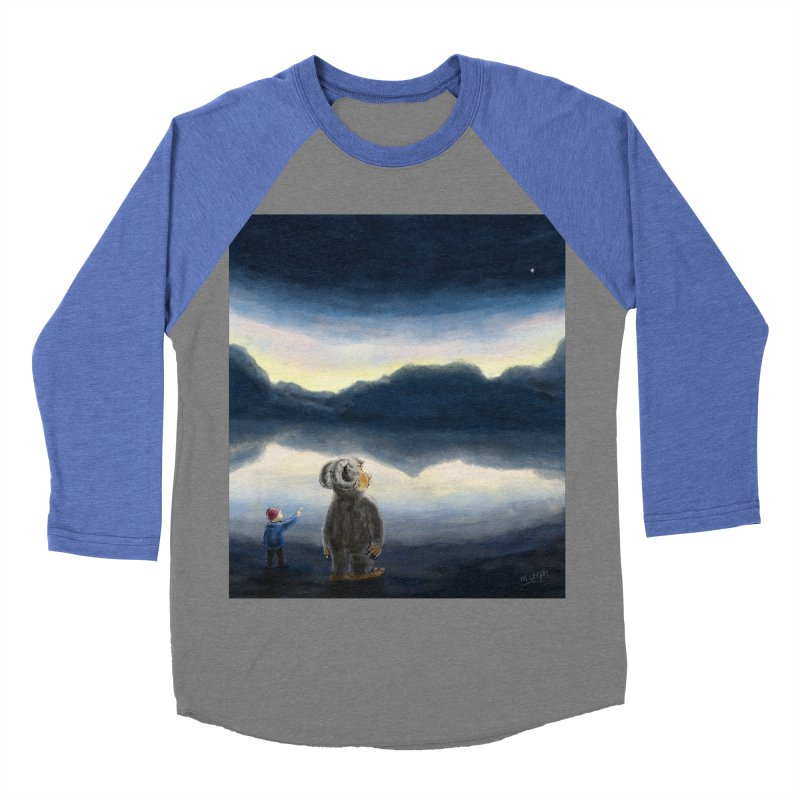 Lakeside stargazing. Men's Baseball Triblend T-Shirt by Illustrator Dave's Artist Shop