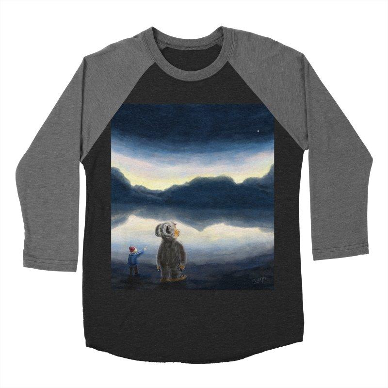 Lakeside stargazing. Men's Baseball Triblend Longsleeve T-Shirt by Illustrator Dave's Artist Shop