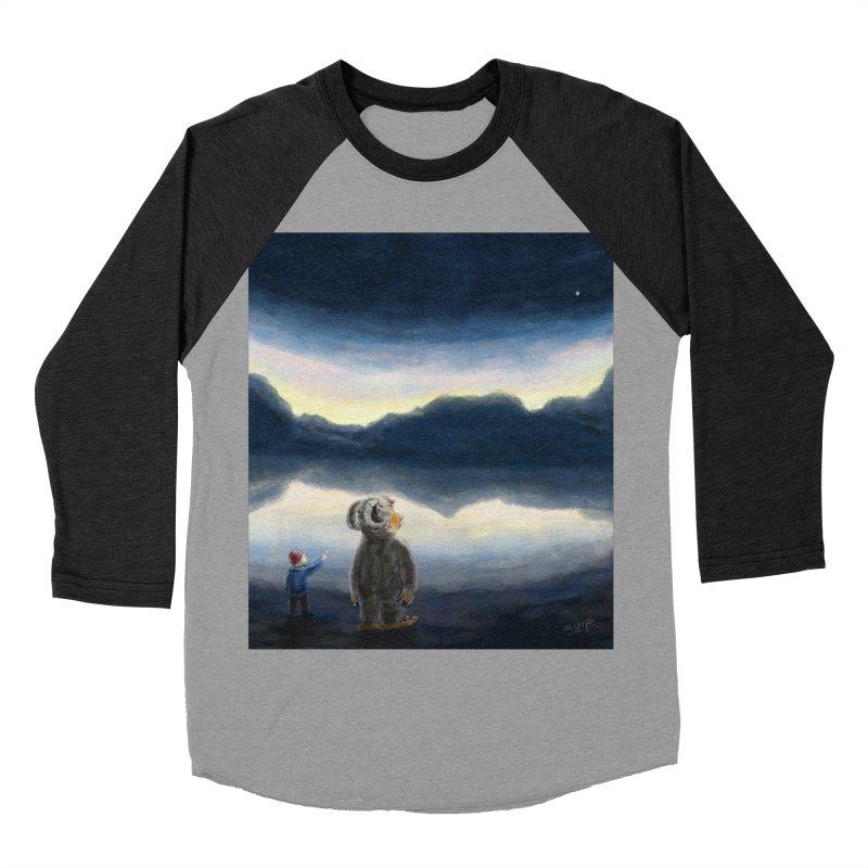 Lakeside stargazing. Men's Baseball Triblend T-Shirt by Illustrator Dave's Artist Shop