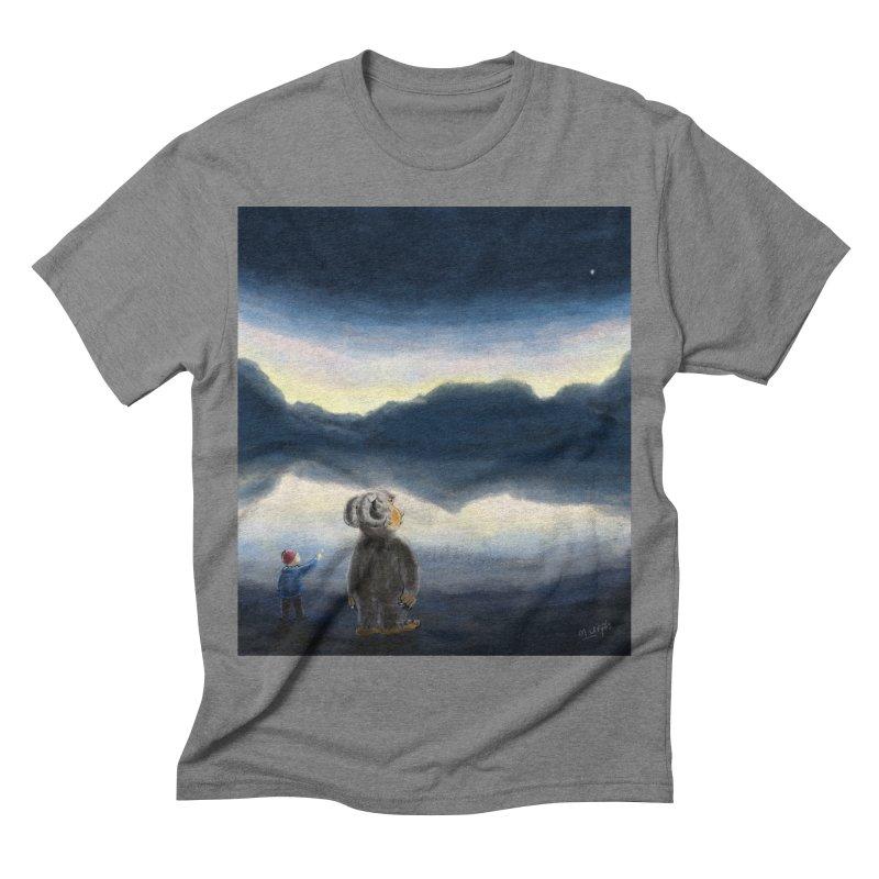 Lakeside stargazing. Men's Triblend T-shirt by Illustrator Dave's Artist Shop