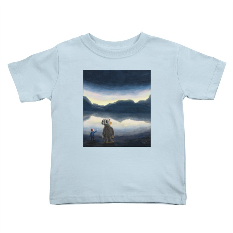 Lakeside stargazing. Kids Toddler T-Shirt by Illustrator Dave's Artist Shop