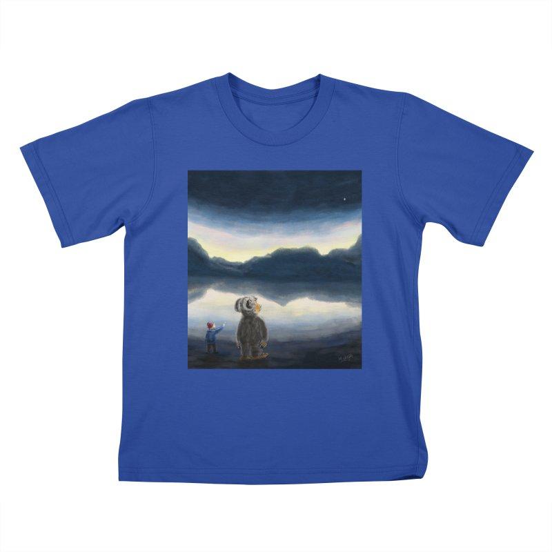 Lakeside stargazing. Kids T-Shirt by Illustrator Dave's Artist Shop