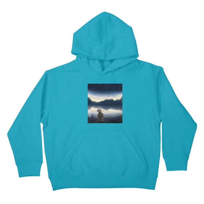 Lakeside stargazing. Kids Pullover Hoody by Illustrator Dave's Artist Shop