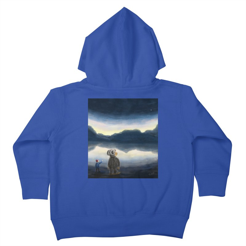 Lakeside stargazing. Kids Toddler Zip-Up Hoody by Illustrator Dave's Artist Shop
