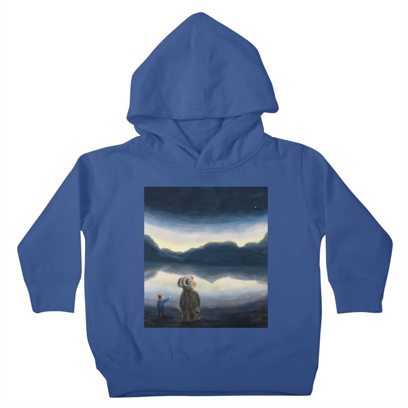 Lakeside stargazing. Kids Toddler Pullover Hoody by Illustrator Dave's Artist Shop