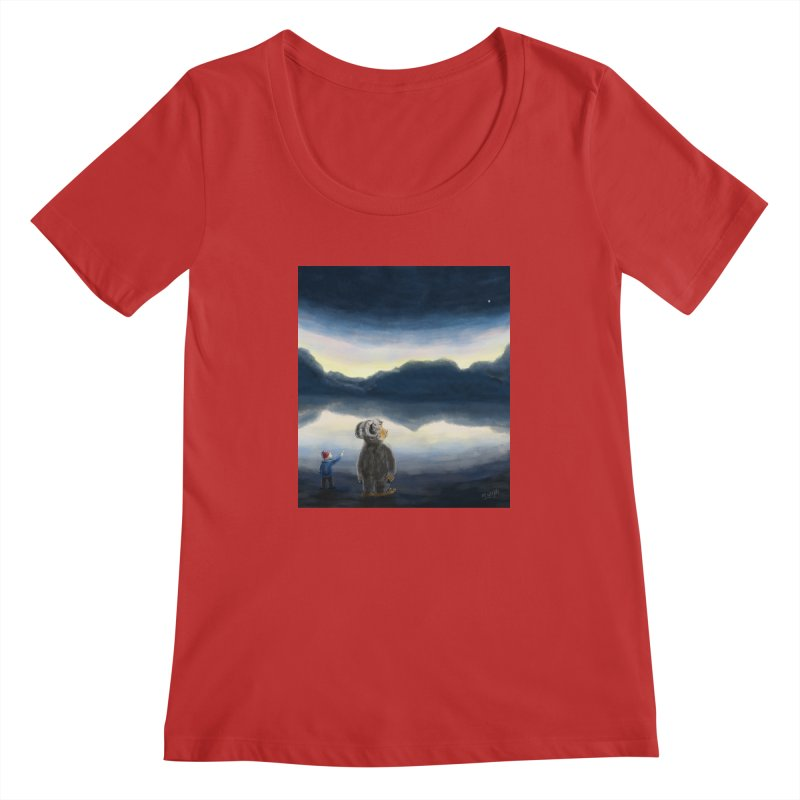 Lakeside stargazing. Women's Scoopneck by Illustrator Dave's Artist Shop