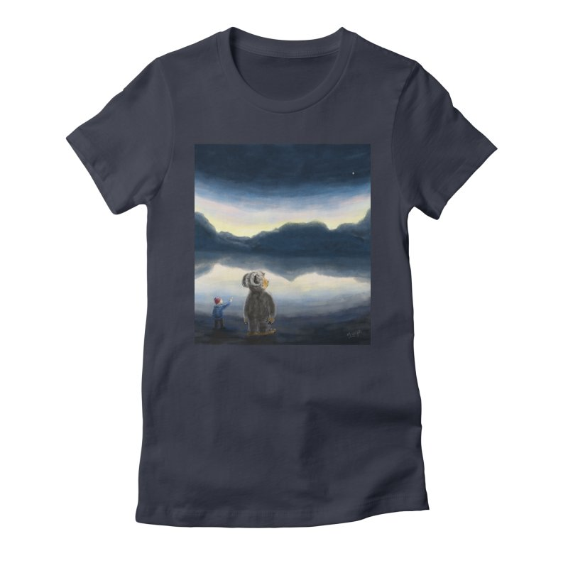 Lakeside stargazing. Women's Fitted T-Shirt by Illustrator Dave's Artist Shop