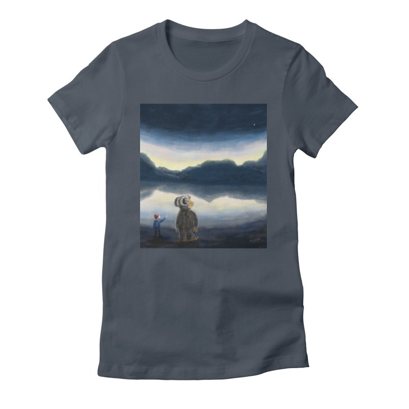 Lakeside stargazing. Women's T-Shirt by Illustrator Dave's Artist Shop