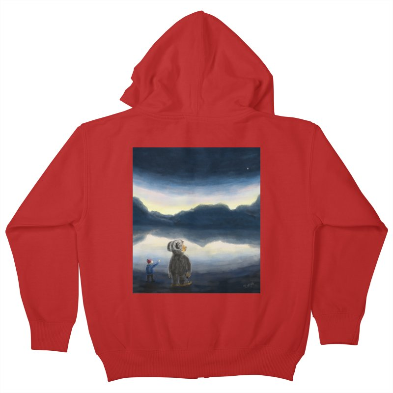 Lakeside stargazing. Kids Zip-Up Hoody by Illustrator Dave's Artist Shop
