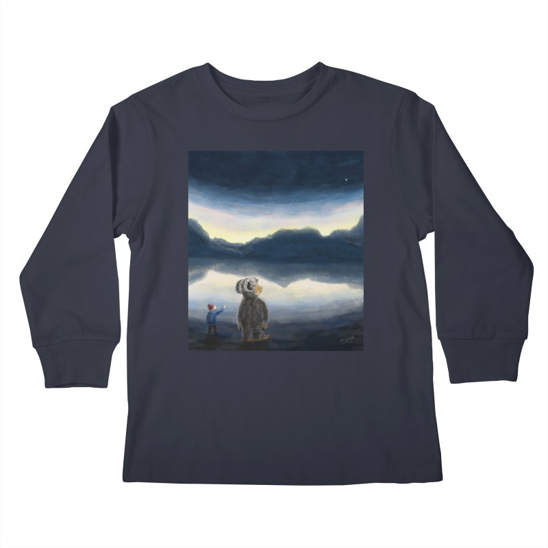 Lakeside stargazing. Kids Longsleeve T-Shirt by Illustrator Dave's Artist Shop