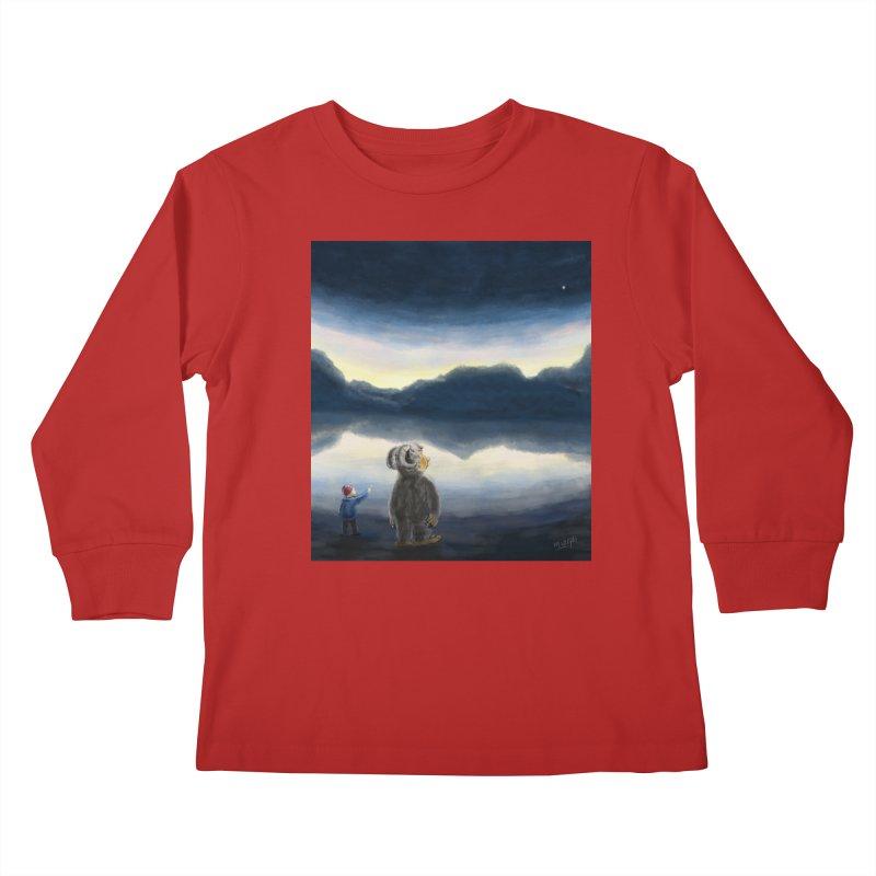 Lakeside stargazing. Kids Longsleeve T-Shirt by Illustrator Dave's Artist Shop