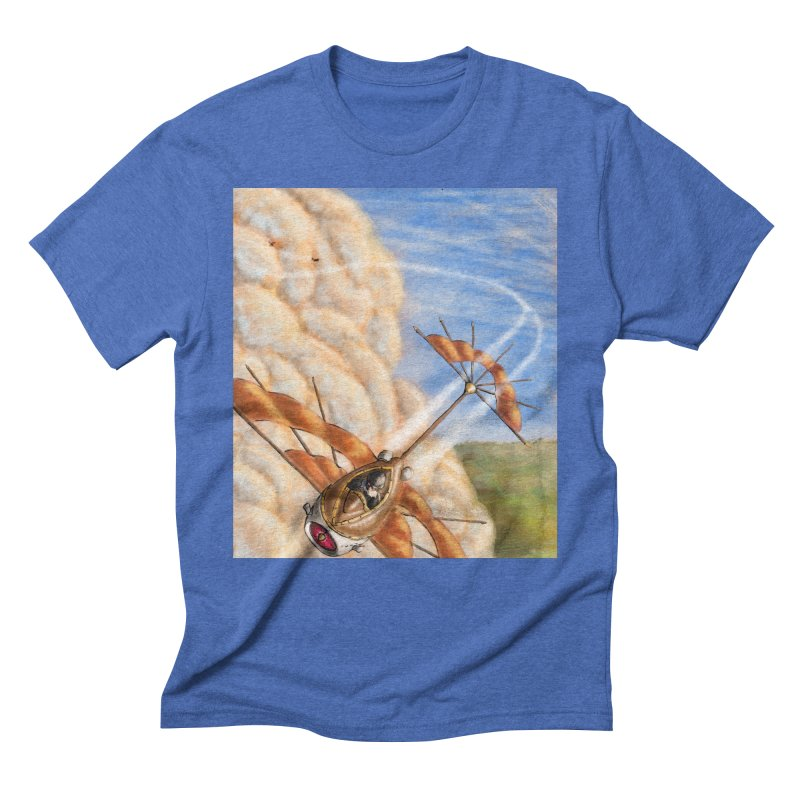 Flying through the clouds. Men's Triblend T-Shirt by Illustrator Dave's Artist Shop