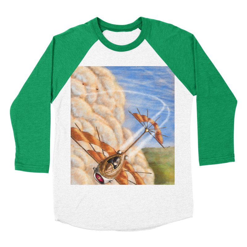 Flying through the clouds. Women's Baseball Triblend Longsleeve T-Shirt by Illustrator Dave's Artist Shop