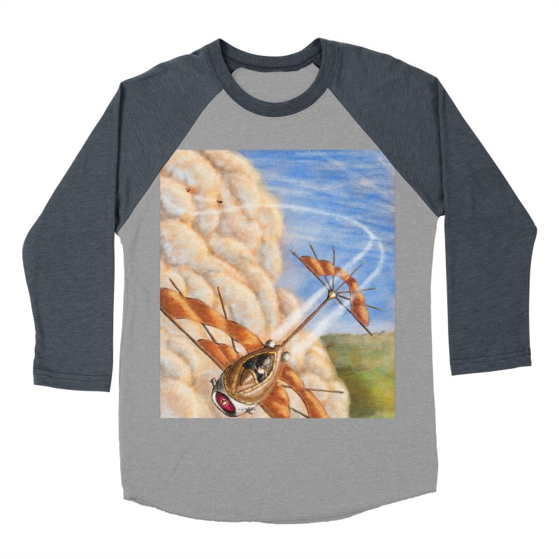 Flying through the clouds. Men's Baseball Triblend Longsleeve T-Shirt by Illustrator Dave's Artist Shop