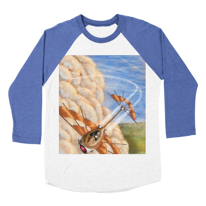 Flying through the clouds. Men's Baseball Triblend T-Shirt by Illustrator Dave's Artist Shop