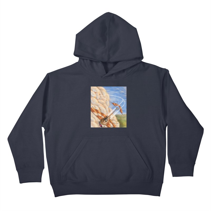 Flying through the clouds. Kids Pullover Hoody by Illustrator Dave's Artist Shop