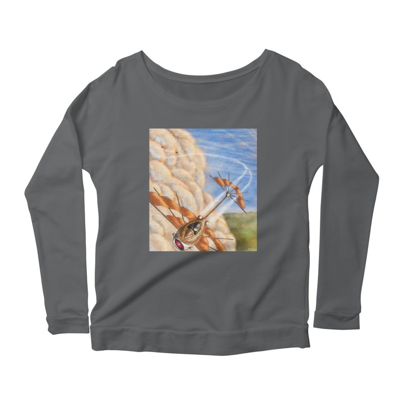 Flying through the clouds. Women's Longsleeve Scoopneck  by Illustrator Dave's Artist Shop