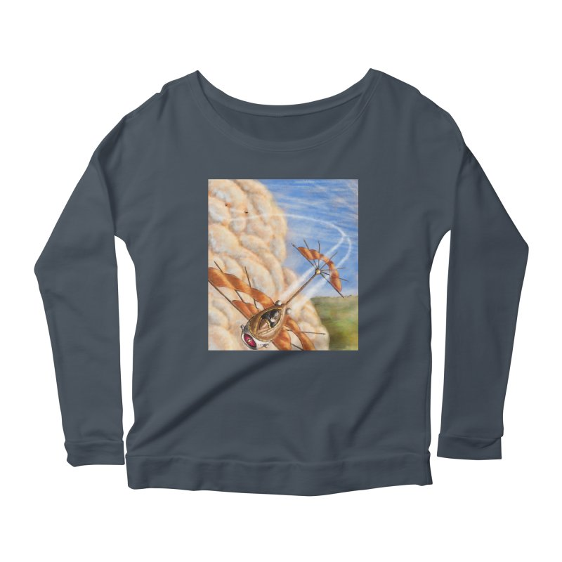 Flying through the clouds. Women's Scoop Neck Longsleeve T-Shirt by Illustrator Dave's Artist Shop